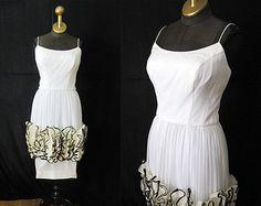 "Amazing 1950's Designer White w/ Black Silk Chiffon Cocktail Dress by ""Jr. Theme NY"""