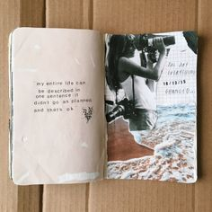 Keeping an art journal or scrapbook. Ideas and inspiration for travel journaling Album Journal, Scrapbook Journal, My Journal, Journal Pages, Tumblr Scrapbook, Summer Journal, Journal Quotes, Photo Journal, Journal Prompts