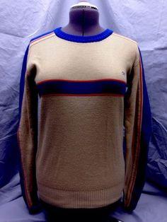 Vintage Mens OP Ocean Pacific Knit Sweater Med Tan Blue Red Striped