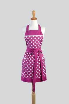 Berry And White Polka Dots Chef A Ideal To Personalize Or Monogram As Gift For Her