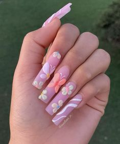 Bling Acrylic Nails, Simple Acrylic Nails, Summer Acrylic Nails, Funky Nails, Trendy Nails, Long Square Acrylic Nails, Acylic Nails, Cute Acrylic Nail Designs, Coffin Shape Nails