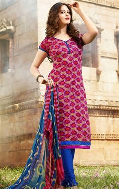 Picture of Glamorous Beige and Magenta Cotton Churidar Kameez