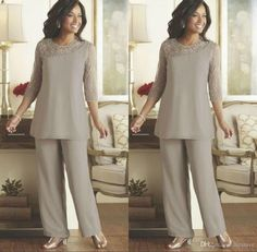20a9182f36ad Silver Mother of the Bride Groom Pants Suits Cheap Plus Size Beaded 3 4  Long Sleeves Chiffon Formal Weddings Guest Occasion Dresses