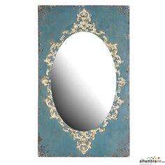Espejo Vintage azul Ovalado