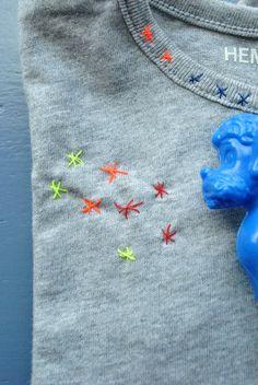 Maak basic shirt wat unieker door er sterretjes op te borduren