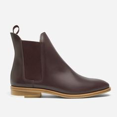 """Our Chelsea Boot is our classic take on this timeless style. It features an elastic tab for easier pull on, squared elastic panels for modern look and easier fit, and a 3/4"""" stacked leather heel, with contrast rubber accent for durability."""