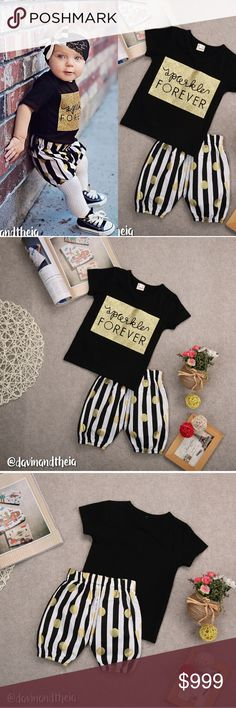 """JUST IN‼️💖 Sparkle Forever 🌟BRAND NEW🌟  Adorable """"Sparkle Forever"""" matching set of black short sleeves top and black & white striped shorts with gold polka dots. Material is Cotton & Polyester. Headband NOT INCLUDED. Limited quantity. GET YOURS NOW!  Available Sizes: 3T (110) 