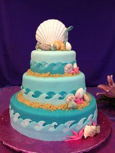 Under the Sea Quinceanera cake - AppleMark Beach Themed Cakes, Themed Wedding Cakes, Marine Cake, Quinceanera Cakes, Quinceanera Decorations, Quinceanera Ideas, Seashell Cake, Quince Cakes, Sea Cakes