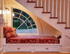 Want to use space under stairs for window, window seat, and in-wall shelf.a book nook. Space Under Stairs, Bed Under Stairs, Traditional Staircase, Cozy Nook, Cozy Corner, Stair Storage, Storage Drawers, Storage Spaces, Staircase Storage
