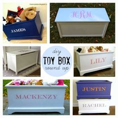 """That's My Letter: """"T"""" is for Toy Box Round-Up, diy toy box builds with plans linked"""