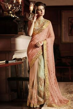 Peach Wedding Wear Embroidered #Saree. Perfect outfit for any wedding or #Festival.  Use Promo Code VD25 and Get 25% #Discount   Shop Now @ http://www.sanwaree.com/Buy/SAREES/Designer-Sarees/Peach-Wedding-Wear-Embroidered-Saree-56-22443