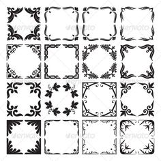 Set of Decorative Corners and Frames  #GraphicRiver         Collection of corners and frames, decorative elements in vector f