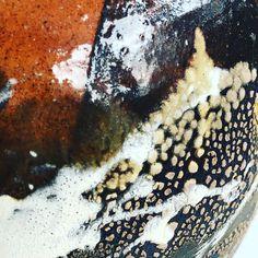 Slips and glazes on earthenware moon jar
