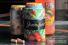Day Six: Chalkboard Fabric Soda Can Cooler (Koozie) — The Inquiring Quilter Fabric Christmas Trees, Christmas Tree Ornaments, Christmas Wreaths, Chalkboard Fabric, Home Decor Dyi, Arizona Tea, 12 Days Of Christmas, Xmas Decorations, Drinking Tea