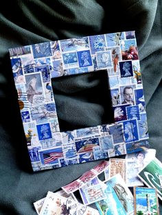 Vintage Postage Stamp Decoupage Frame.