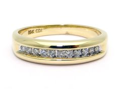 Men's 10k Yellow Gold .33ct Round Cut Diamond 6mm Wedding Band Ring Size 10.5 by AntiqueJewelryLine on Etsy