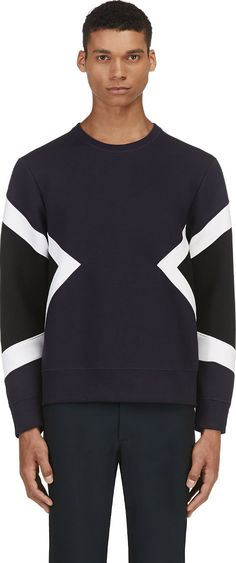 Neil Barrett - Navy Geometric Neoprene Sweater | SSENSE