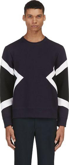 Neil Barrett - Navy Geometric Neoprene Sweater   SSENSE