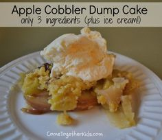 Apple Cobbler Dump Cake (3 ingredients)  Went to the orchard today - might have to try this