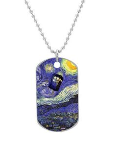 Dr Who Tardis Starry Night Painting Dog Tag Dimensions 1.3X2.2X0.1 inches ,Comes with 30\' inches beads chain ** Check this awesome product by going to the link at the image.