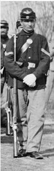 Fatigue VRC uniform with familiar dark blue Union sack coat