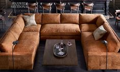 Restoration Hardware Sectional in Italian Destroyed Leather – Sofa Design 2020