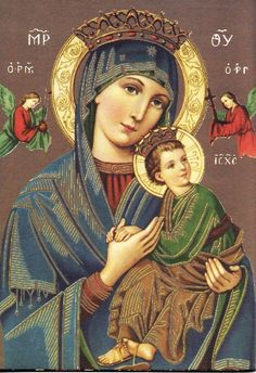 Prayer to Our Lady of Perpetual Help - Catholic Amen Jesus Mother, Blessed Mother Mary, Blessed Virgin Mary, Religious Pictures, Religious Icons, Religious Art, Mother Mary Images, Images Of Mary, Catholic Art