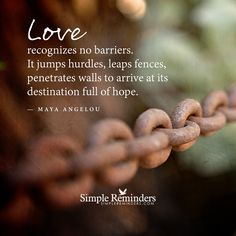 Love recognizes no barriers. It jumps hurdles, leaps fences, penetrates walls to arrive at its destination full of hope. — Maya Angelou
