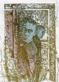 Hommage Joan Miro Original Ex libris Bookplate Etching Pavel Hlavaty 19.0 x 12.5 cm.