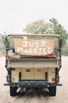 """just married"" Jeep, photo by Feather and Stone http://ruffledblog.com/south-african-destination-elopement #wedding #signs #signage"