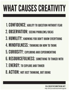 What causes creativity. Words to remember and think about! Creativity requires a delicate balance of primarily these eight things. If you're not feeling particularly creative, evaluate which of these might be off balance for you. Art Quotes, Motivational Quotes, Life Quotes, Inspirational Quotes, Quotes Images, Typography Quotes, Daily Quotes, The Words, Classe D'art