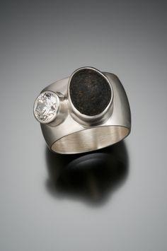 Diamond and beach pebble ring. www.jnielsenjewelry.com