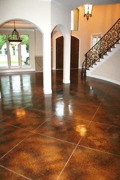 Brown Acid Stained Hallway Concrete Floor | Home | Pinterest | Acid ...