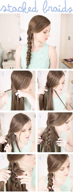 If you want to make a difference with the braided hairstyle, this stacked braid will be your perfect choice. It will work greatly on smooth, fine hair.