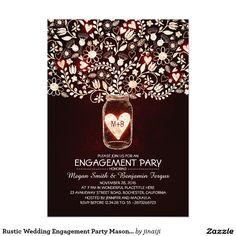 Rustic Wedding Engagement Party Mason Jar Invites