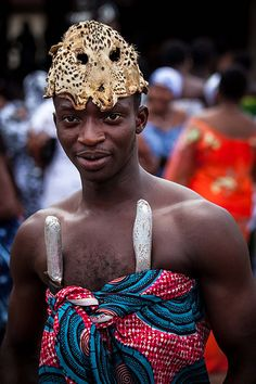 Portrait of a fetisher during Akwasidae the great celebration of the Ashanti in Kumasi