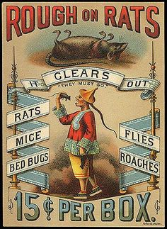 Rough on Rats. Advertisment for rat poison in the late 1800s of a Chinese man eating rats.