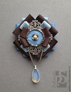 """брошь """"лазурь"""" - голубой,коричневый,брошь,винтажный стиль,жемчуг,лунный камень"""