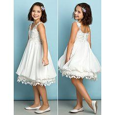 Knee-length+Chiffon+/+Lace+Junior+Bridesmaid+Dress+-+Mini+Me+A-line+V-neck+with+Lace+–+USD+$+69.99