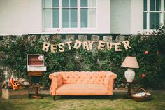 Sofa Seating Area | Best Day Ever Sign | | ASOS Wedding Dress | Intimate & Stylish House Party Wedding At Polpier & Penpol Cornwall | Images From Tupou Photography