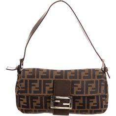 Pre-owned Fendi Zucca Baguette (675 SAR) ❤ liked on Polyvore featuring bags, handbags, brown, man bag, fendi purse, handbag purse, brown handbags and pre owned handbag