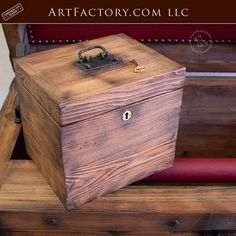 Strong Box Pirates Chest: With Lock Box, Hidden Compartment - handmade by master craftsmen, built with old world techniques and materials Storage Trunk, Box Storage, Storage Chest, Art Furniture, Custom Furniture, Stage Coach, Antique Chest, Box Design, Woodworking