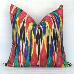 Vibrant ikat decorative velvet pillow cover  Painted by StuckOnHue, $37.00