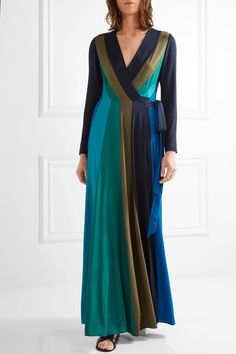 Diane von Furstenberg - Penelope Paneled Stretch-silk Wrap Maxi Dress - Blue - US6