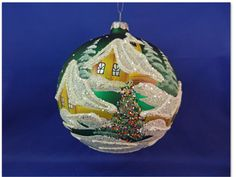 Glass green free blown hand painted winter snow scene Christmas Ornament 029008g #GlassOrnaments