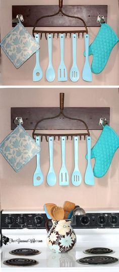Best Country Decor Ideas - Rustic Utensil Holder - Rustic Farmhouse Decor Tutorials and Easy Vintage Shabby Chic Home Decor for Kitchen, Living Room and Bathroom - Creative Country Crafts, Rustic Wall Art and Accessories to Make and Sell http://diyjoy.com/country-decor-ideas #CountryHomeDecorating,