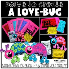 Students solve word problems to earn the pieces to create their very own love-bug!