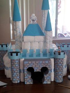Disney diaper castle cake for baby shower gift! Baby Q Shower, Elegant Baby Shower, Baby Shower Princess, Baby Shower Diapers, Baby Shower Gender Reveal, Baby Shower Themes, Baby Shower Decorations, Baby Shower Gifts, Shower Ideas
