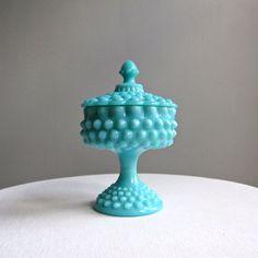 Turquoise Blue Hobnail Milk Glass Candy by BarkingSandsVintage