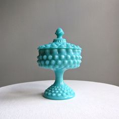 Turquoise Blue Hobnail Milk Glass Candy by BarkingSandsVintage